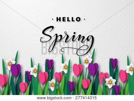 Hello Spring Seasonal Greeting Banner. 3d Paper Cut Spring Flowers Tulips And Narcissus On White Spo