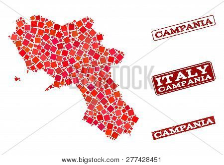 Geographic collage of dot mosaic map of Campania region and red rectangle grunge stamp imprints. Vector map of Campania region formed with red square dots. Flat design for geographic posters. stock photo