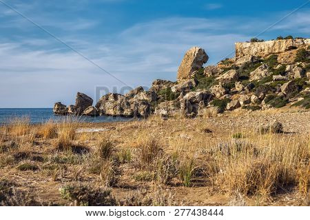 Northern Cyprus coastline Alagadi turtle beach with rocky formation stock photo