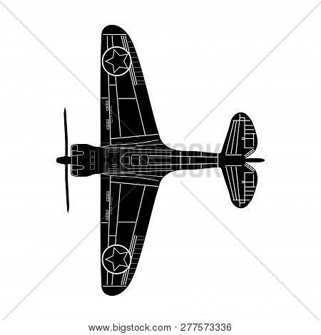 old stunt aeroplane isolated  schematic silouette image stock photo