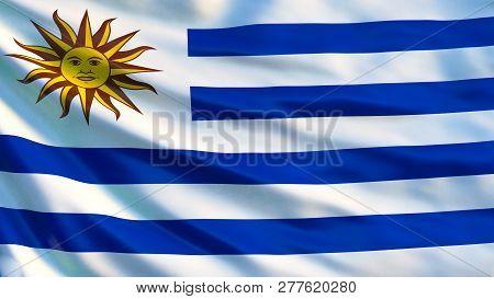 Uruguay flag. Waving flag of Uruguay 3d illustration. Montevideo stock photo