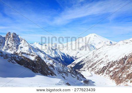 Adyl Sou gorge. View from the pass Gumachi stock photo