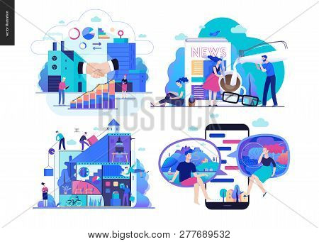Business series set, color 2 -modern flat vector concept illustrated topics - b2b, news, collaboration, chat. Creative landing web page design template stock photo