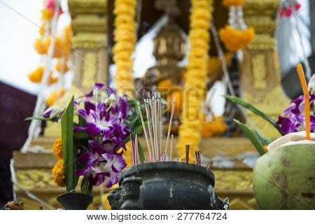 Incense sticks. House for spirits in Thailand on the island of Phuket. Day 15 December 2018 stock photo