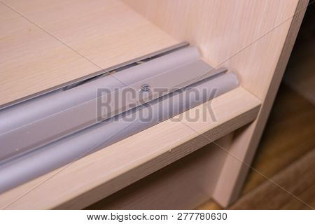 guide rails for sliding wardrobe, wardrobe with guide rail for the doors stock photo