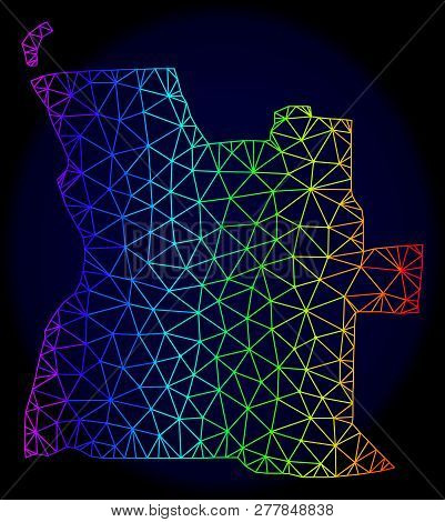 Rainbow colored mesh vector map of Angola isolated on a dark blue background. Abstract lines, triangles forms map of Angola. Carcass model for patriotic purposes. stock photo