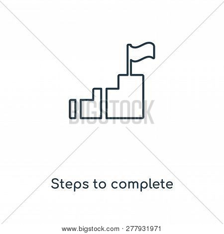 steps to complete icon in trendy design style. steps to complete icon isolated on white background. steps to complete vector icon simple and modern flat symbol for web site, mobile, logo, app, UI. steps to complete icon vector illustration, EPS10. stock photo