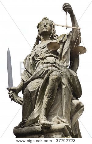 Statue of Justice in Schloss Weikersheim Germany stock photo