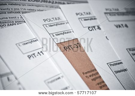 Blank income tax forms. Polish forms PIT CIT and VAT ** Note: Shallow depth of field stock photo