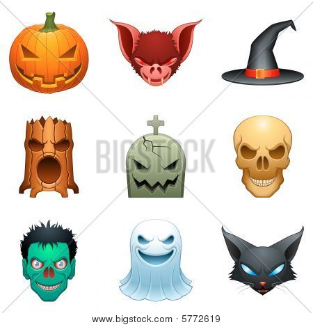 Set of 9 cartoon halloween characters, isolated on white. stock photo