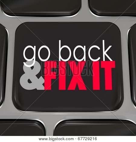 Go Back Fix It black computer keyboard key program software or application correct mistakes stock photo