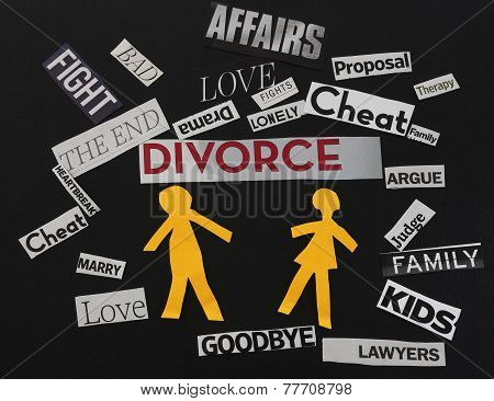 Paper couple with divorce themed paper messages stock photo