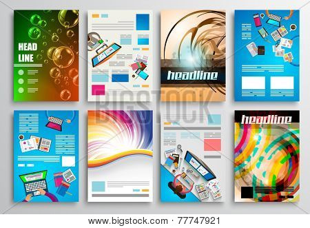 Set of Flyer Design, Web Templates. Brochure Designs, Technology Backgrounds. Mobile Technologies, I