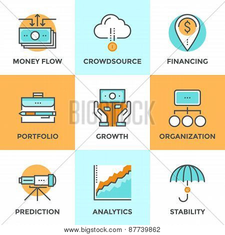 Line icons set with flat design of money growth financial planning investment portfolio crowdsource funding market data analytics business vision. Modern vector logo pictogram collection concept. stock photo