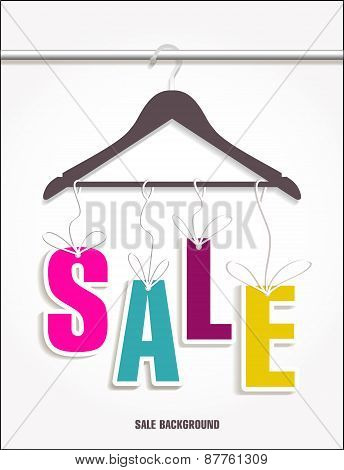 Sale banner decoration for clothes. Vector illulstration of shopping background. stock photo