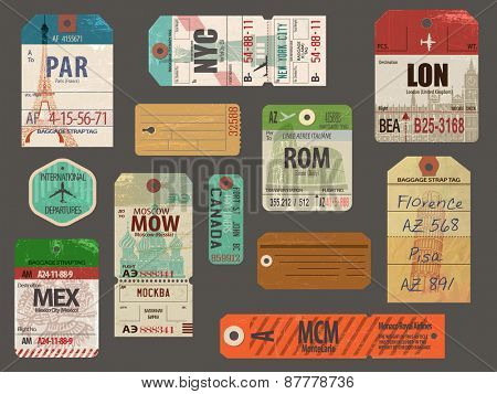 Vintage Baggage Tags - Vintage luggage paper tags for flights to most popular destinations, with the