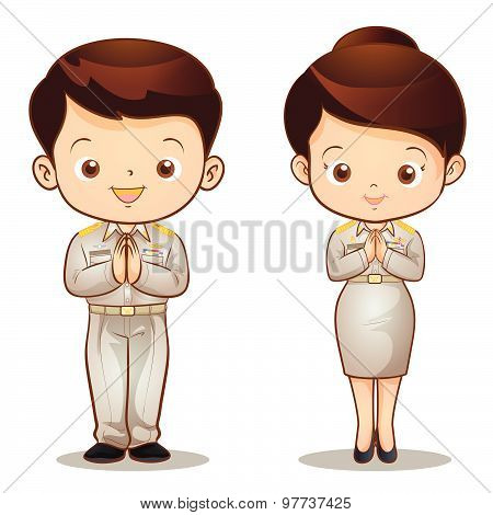 man and woman Thai official Sawasdee action lovely stock photo