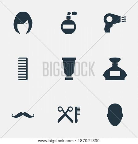 Vector Illustration Set Of Simple Beautician Icons. Elements Bottle, Scent, Human And Other Synonyms Perfume, Bottle And Aroma. stock photo