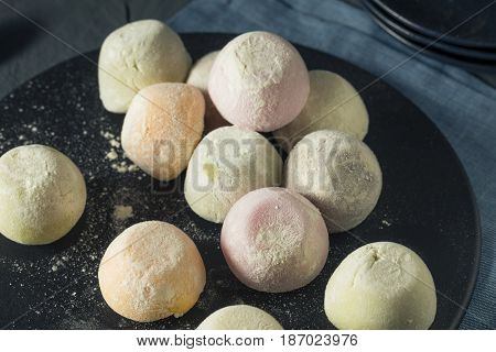 Sweet Japanese Mochi Ice Cream in Many Flavours stock photo