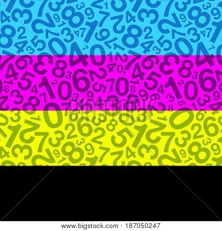 a cyan magenta yellow and black number background image stock photo