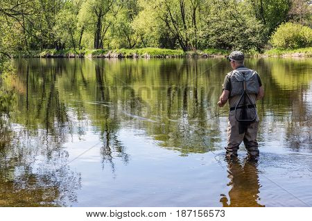 The fisherman walks in the river and flies on the Otava River. View from the rear of the fisherman. South Bohemia Czech republic. stock photo