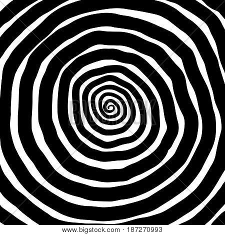 Vector spiral background. Hypnotic dynamic vortex Object on white background stock photo