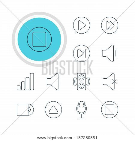 Vector Illustration Of 12 Music Icons. Editable Pack Of Rewind, Decrease Sound, Amplifier And Other Elements. stock photo