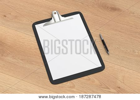 Black clipboard with blank white paper pages and ball pen isolated on wooden background with clipping path. 3d illustration stock photo