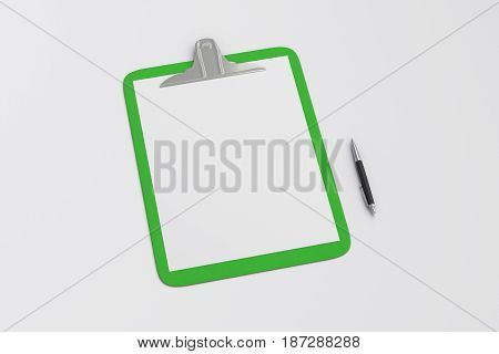 Green clipboard with blank white paper pages and ball pen isolated on white background with clipping path. 3d illustration stock photo
