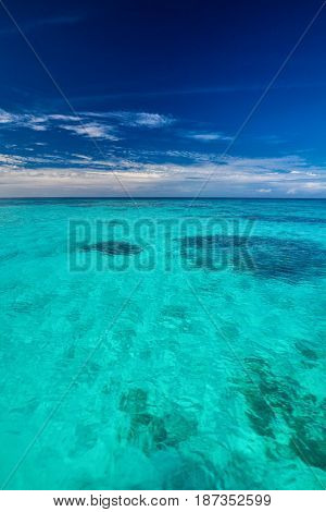 Tropical ocean with blue sky with vibrant ocean colors, Maldives-Lg Fridge Magnet Skin (size 36x65)