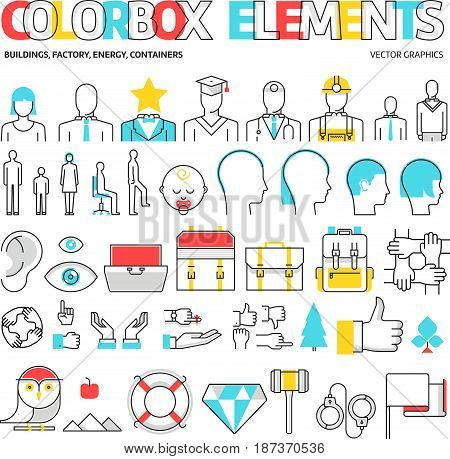 Color box icons elements graphics. The illustration is colorful flat vector pixel perfect suitable for web and print. Linear stokes and fills. stock photo