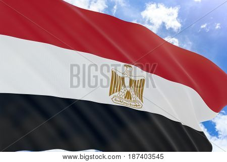 3D rendering of Egypt flag waving on blue sky background Revolution Day refers to the public holiday in Egypt on 23 July It is the biggest secular public holiday in Egypt. stock photo