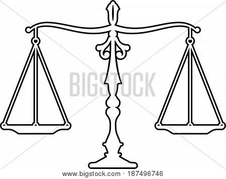 Judge Gavel Scales Of Justice Icon  Raster Illustration stock photo