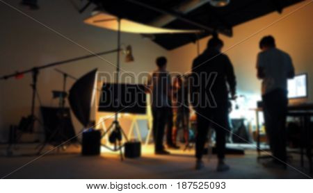Blurred Of Production Team Shooting Some Video Movie.