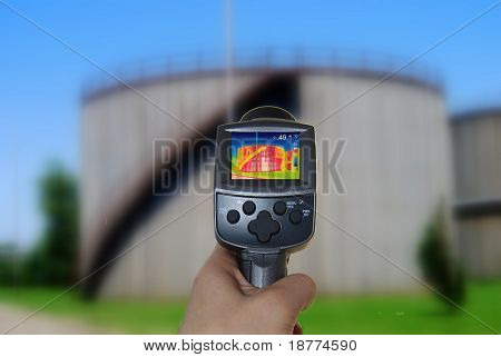 Thermal imaging camera of a tank stock photo