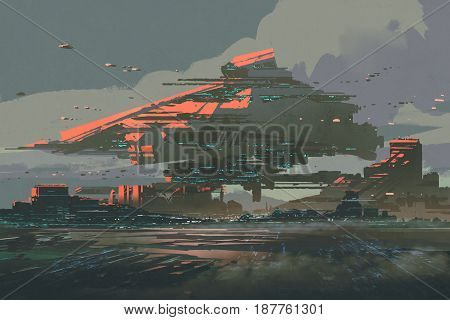 digital art of sci-fi concept with the futuristic colony on a planet with mega structures, illustration painting stock photo
