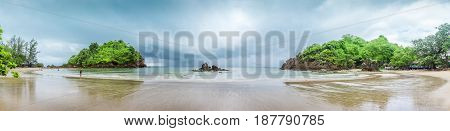 Panorama panoramic beach view bay view tourist attraction in Bang Saphan Noi Prachuap Khiri Khan Province Thailand. This place is called Ao Bo Thonglang. stock photo