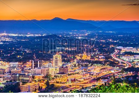 Roanoke, Virginia, USA downtown skyline at dusk. stock photo