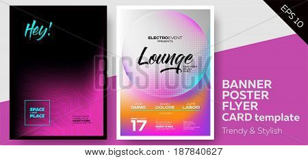 Music Covers for Summer Electronic Fest or Club Party Flyer. Lounge Minimal Techno Deep Dark Styles. Template for DJ Poster Web Banner Pop-Up. stock photo
