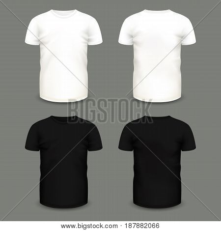 Set of men's white and black t-shirts in front and back views. Volumetric vector template. Realistic shirts mockup used for advertising labels, logo, emblem design or textile goods, for websites. stock photo