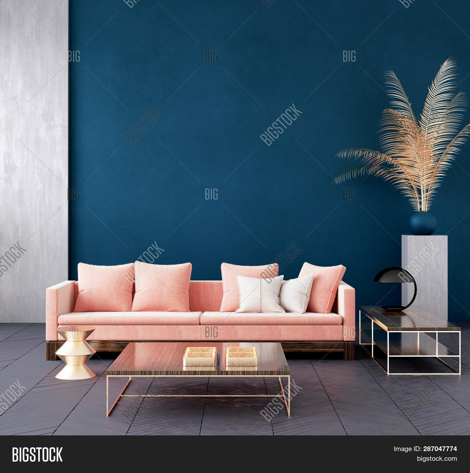 3d,apartment,background,blue,color,comfort,concrete,contemporary,couch,cozy,cushions,dark,decor,decoration,design,fabric,floor,frontal,furniture,gold,golden,home,hotel,illustration,indoor,interior,living,luxury,minimalism,mock,mock-up,mockup,modern,nobody,parquet,pillow,pink,plaid,room,simple,sofa,space,style,table,trendy,up,wall
