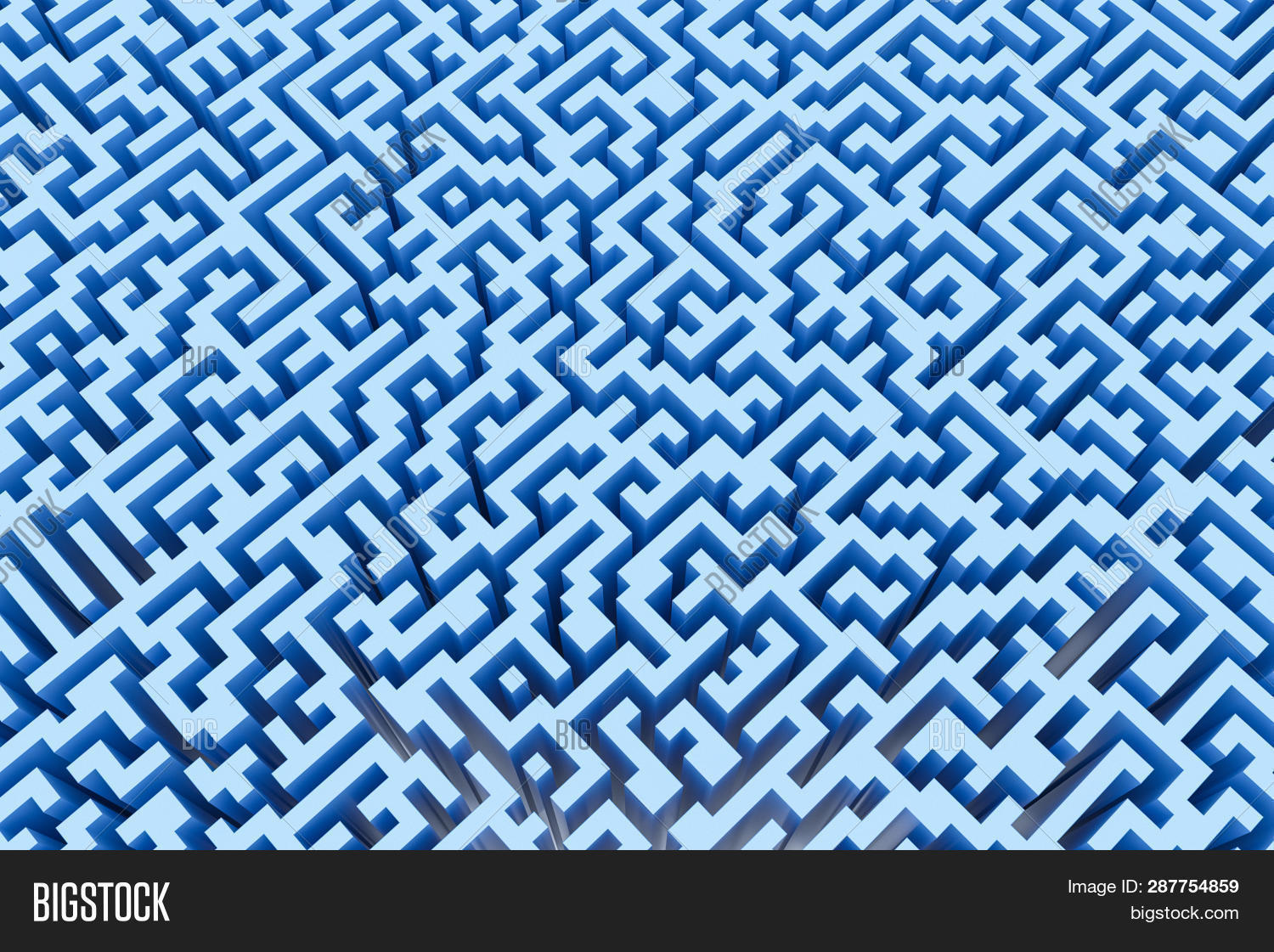 The Texture Of The Three-dimensional Model Of The Maze In Blue, Perspective View. Three-dimensional