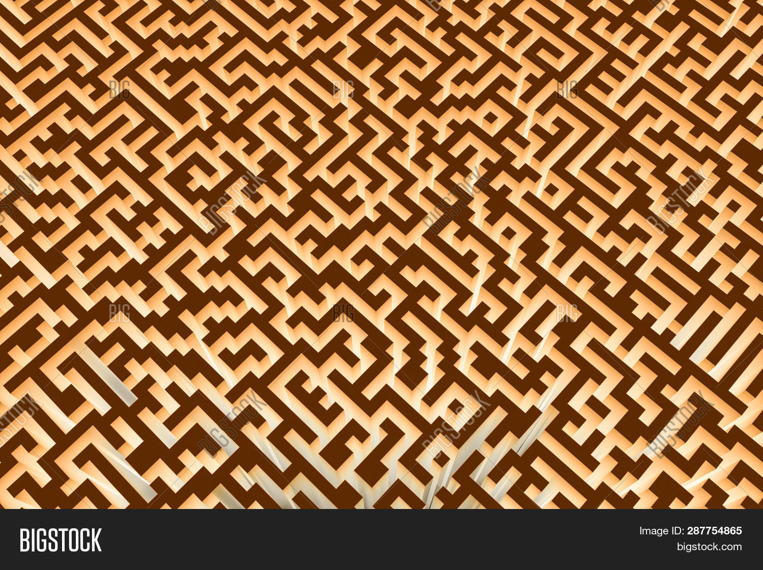 The Texture Of The Three-dimensional Model Of The Glowing Maze, Perspective View. Three-dimensional