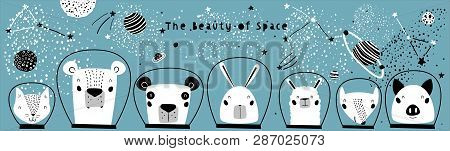 Hand Drawn Portraits of Cute Funny Animals in Space with Typography in Childish Style. Isolated objects on white background. Line drawing. Vector illustration. Design concept for children print. stock photo