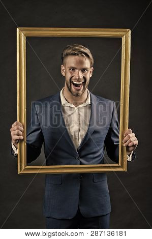 Style icon. Man fashionable suit in frame as icon of style. Dress code. Guy wear perfect formal suit. Edgy ways to dress up like style icon. Male fashion modern trends and classic outfits. stock photo