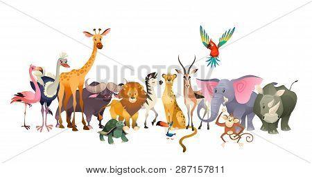 Wild Animals. Safari Wildlife Africa Happy Animal Lion Zebra Elephant Rhino Parrot Giraffe Ostrich F