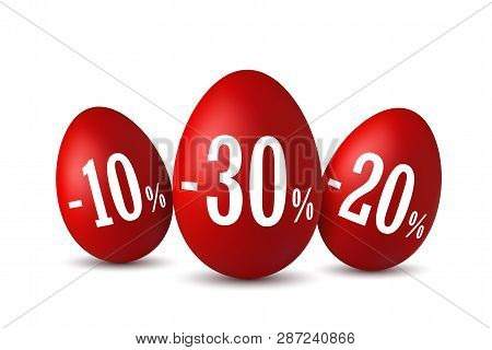Easter egg sale. Happy Easter eggs 3D template isolated on white background. 10, 20, 30 percent off. Design banner, poster, promotion decoration, special offer. Label tag discount Vector illustration stock photo