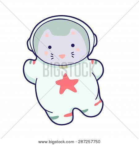 Cute kawaii cat travels in space. Vector funny animals clip art. stock photo