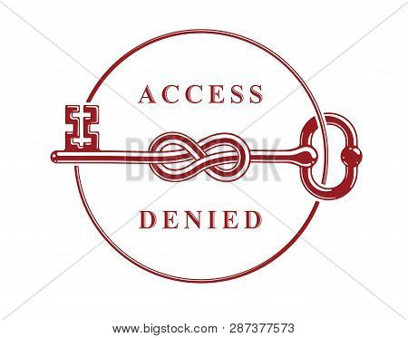 Access Denied, Knotted key allegorical symbol, vintage antique turnkey in a knot, blocked account, personal data protection, hacker and fraud attack, vector logo. stock photo