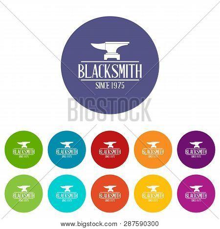 Master blacksmith icons color set for any web design on white background stock photo